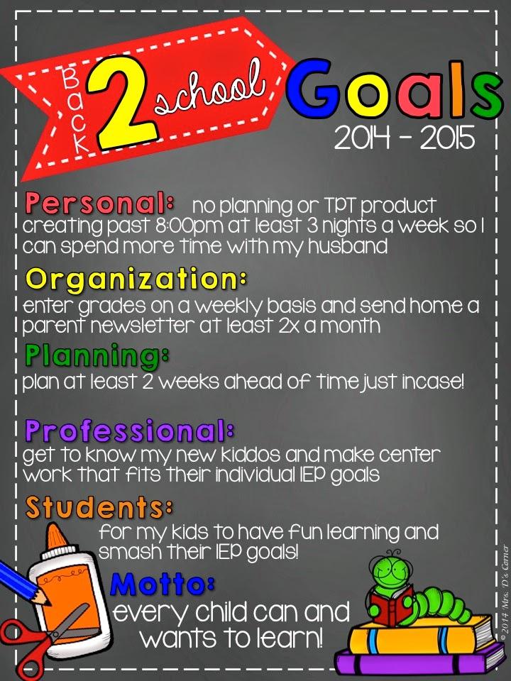 2014 – 2015 Back to School Goals
