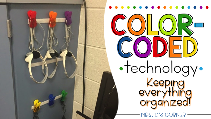 Color coded classroom. Color coding technology and keeping everything organized. Blog post at Mrs. D's Corner.