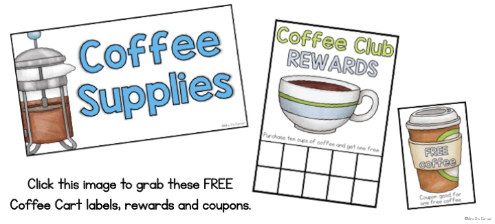 Classroom coffee cart free resources. Coffee club rewards and coupons, labels and forms. Download for free here.