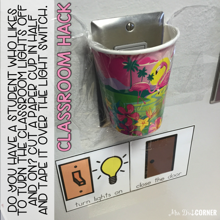 Use a paper cup or a plastic container over the light switch to prevent students from turning the lights on and off.