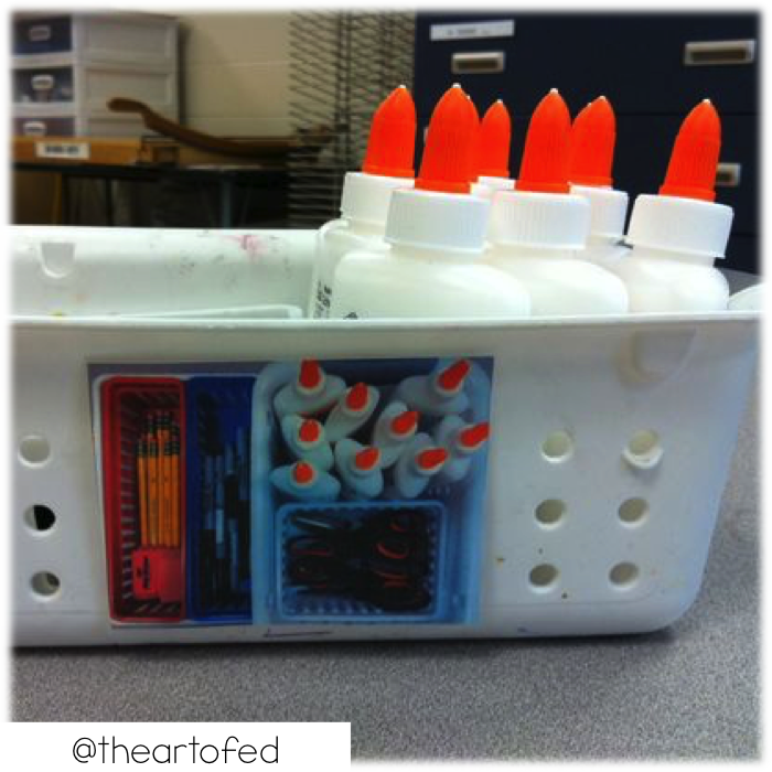 Add pictures to your storage containers for how the supplies should look when they are put back. Great visual for students when cleaning up.