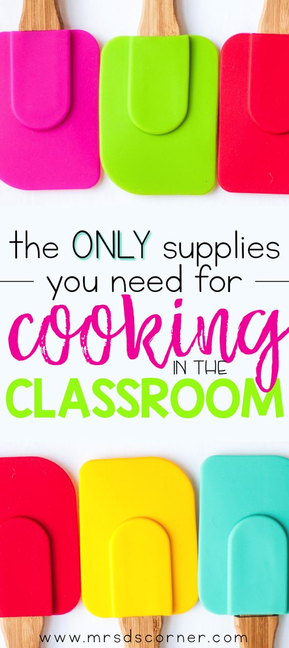 The only kitchen supplies and essentials you need to start cooking in your classroom. A simple cooking supply list to get started, including visual recipes. Blog post at Mrs. D's Corner