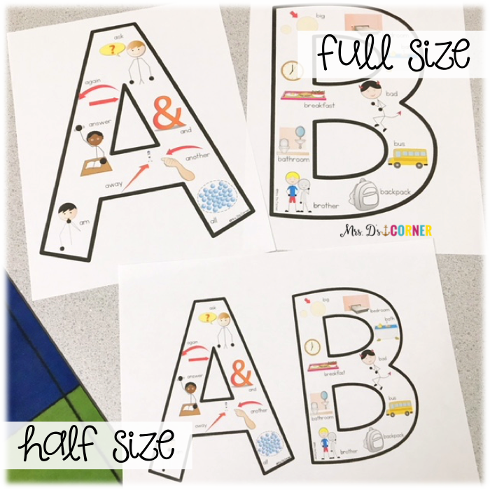 full size alphabet letter posters versus half size alphabet letter posters