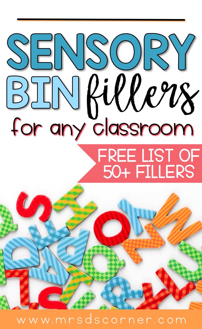 sensory bin fillers list pin