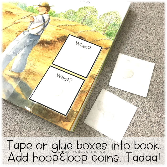 Tape or glue boxes into the adapted book. Add hook and loop coins.