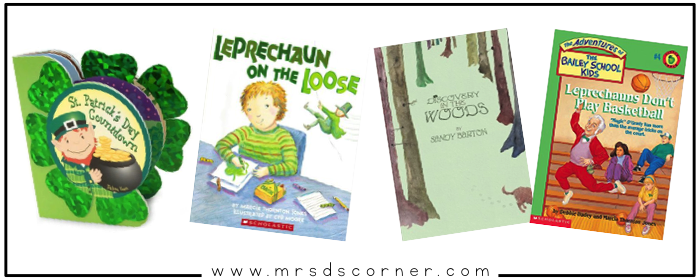 Saint Patrick's Day books for any classroom. Read alouds about leprechauns, finding gold, the history of St. Patty's Day and the color green. 33 children's books for St. Patrick's Day. Story time books for the month of March. Blog post at Mrs. D's Corner.