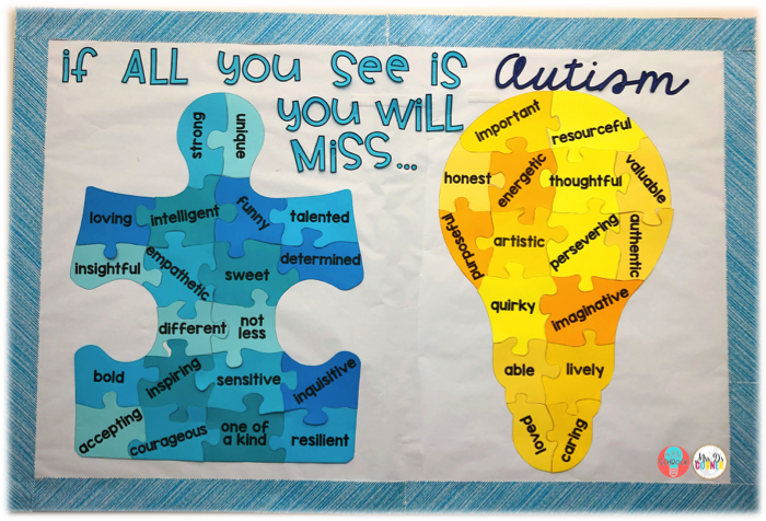 Autism Awareness bulletin board display. Great for autism awareness and acceptance month in april. Free download at Mrs. D's Corner.