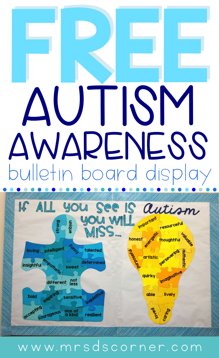 """April is Autism Awareness month, but it's so much more than awareness... it's about acceptance and seeing people for who they are. This bulletin board display will help students, staff, and everyone who walks the halls of your school think about each child first and not the """"label"""" of Autism. Caity and I feel very strongly that the message behind this bulletin board is so important, not just for students with Autism, but for all students with disabilities. Display this bulletin board all year long!"""