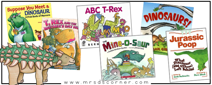 54 dinosaur books for kids with dinosaurs as the main characters. Dinosaur read alouds for children. Dinosaur books for elementary students. Blog post at Mrs. D's Corner.