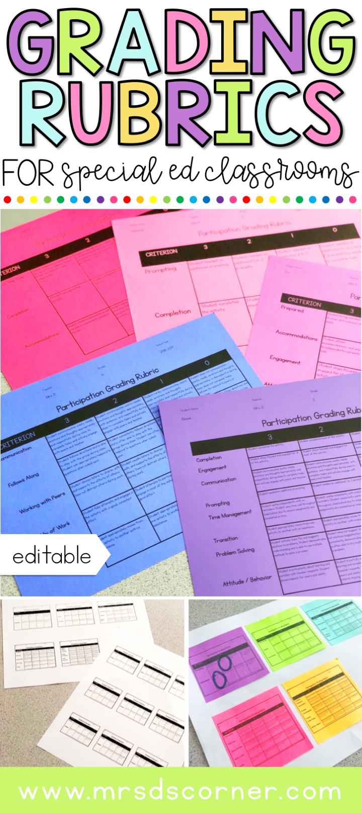 Grading Rubrics for special needs students. grading rubrics for students with disabilities. grading in special education. bit.ly/MDCrubrics