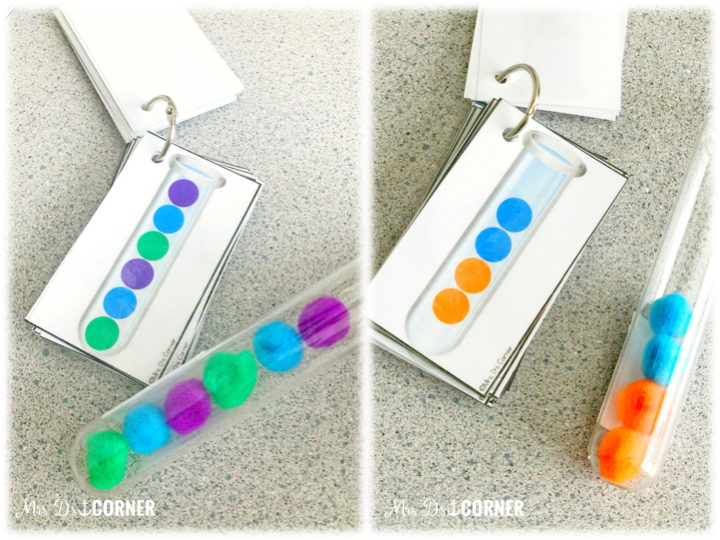 work task Wednesday with test tube patterns. Simple math center to practice color recognition, hand eye coordination, fine motor muscle strength, and more!