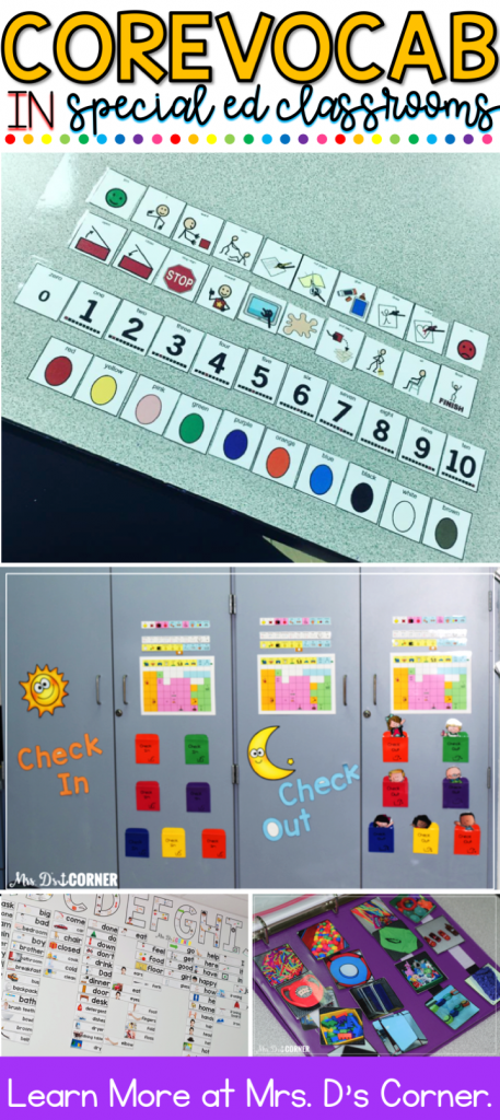 Core vocabulary in the special education classroom pin image