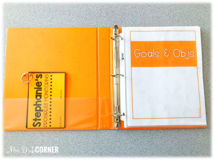 a look inside a color coded student iep binder - color coded student iep binders - organizing your IEPs one child at a time. blog post at mrs. ds corner
