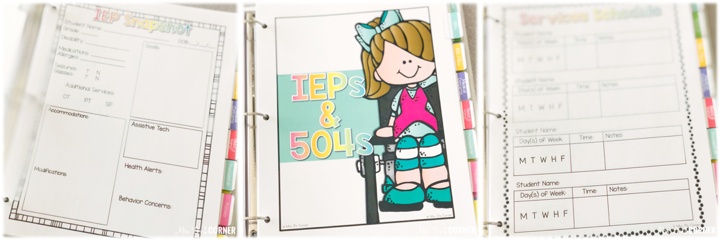 Substitute Binder for Special Ed Teachers - iep and 504 information that substitutes need to know