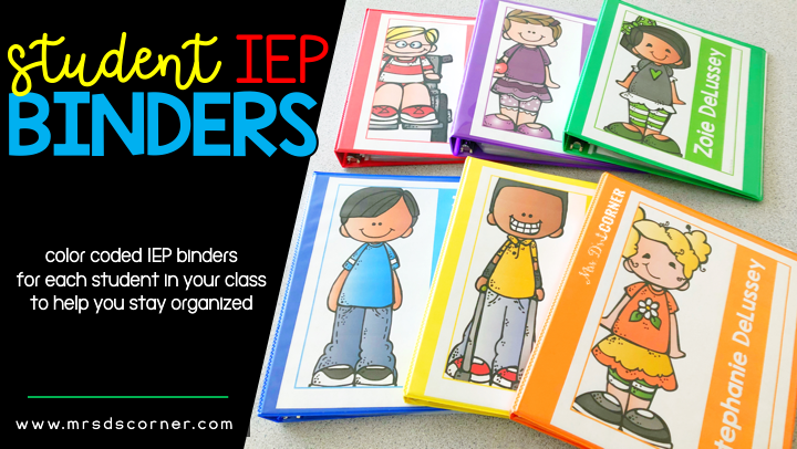 Color Coded Student IEP Binders (Color Coded Classroom)