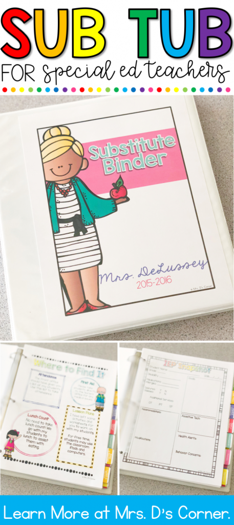 Substitute Binder for Special Ed Teachers. Never feel unprepared for a substitute again with this dual-purpose, editable substitute binder for both short and long term subs. This sub tub binder is intended to provide you, the teacher, with everything you need to have well prepared day(s) planned for your substitute teacher. Have an organized, well put together substitute binder for your days out that is not only easy to put together and easy for subs to navigate. Learn more at Mrs. D's Corner.