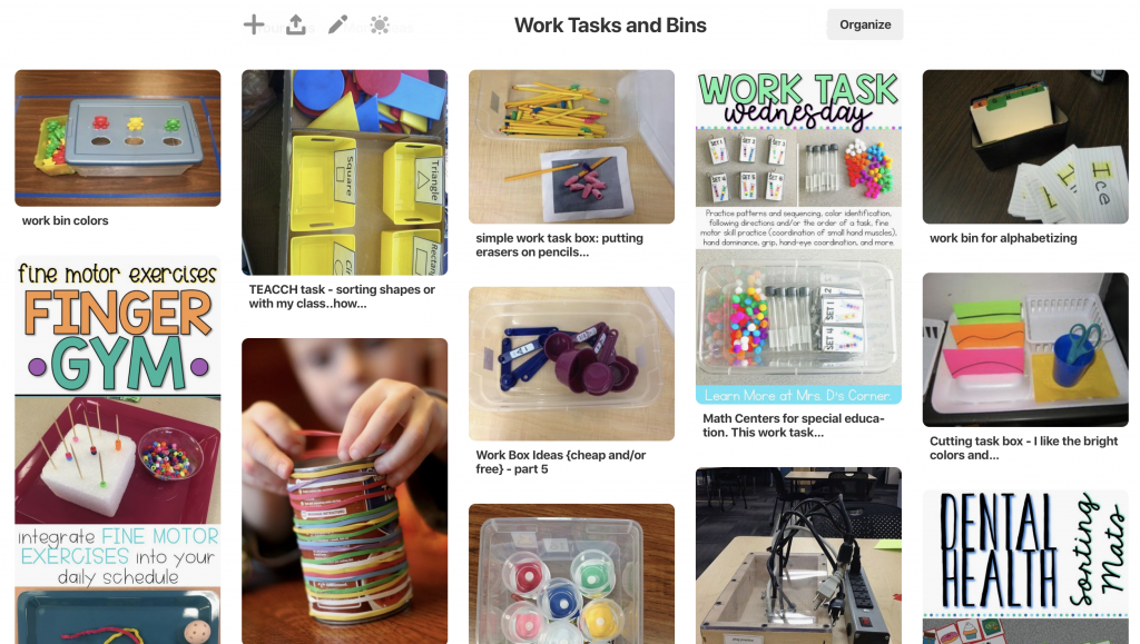 Pinterest Board for work tasks and bin ideas.