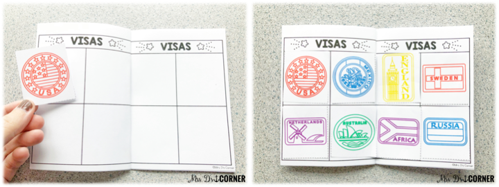 holidays around the world - passports with visas for each country