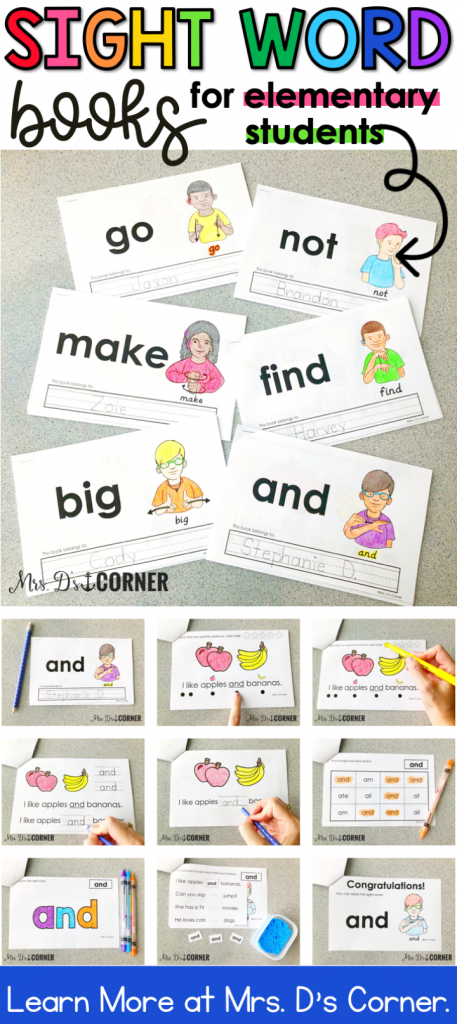 Printable, interactive sight word readers for an elementary classroom. FREE sight word book in the preview. Students will read and practice each of the 220 sight words with: Read it, Trace it, Write it, Find it, Color it, and Cut and paste it. Each sight word booklet also includes a certificate as the last page. Learn more at Mrs. D's Corner.