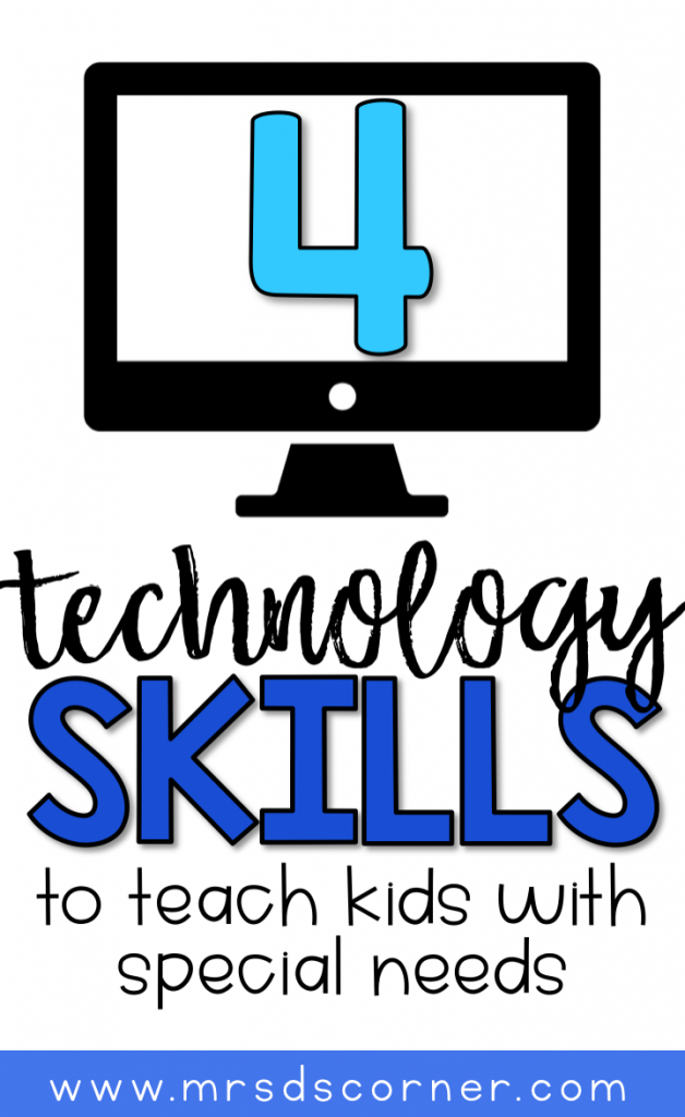 4 Technology skills to teach students with special needs. From log ins, to keyboarding tricks. Learn more at Mrs. D's Corner.